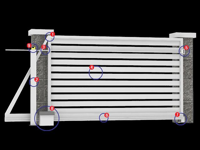 Aluminijumske klizne kapije - montažna šema
